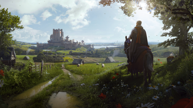 Mann auf Pferd blickt in Manor Lords auf eine Burg