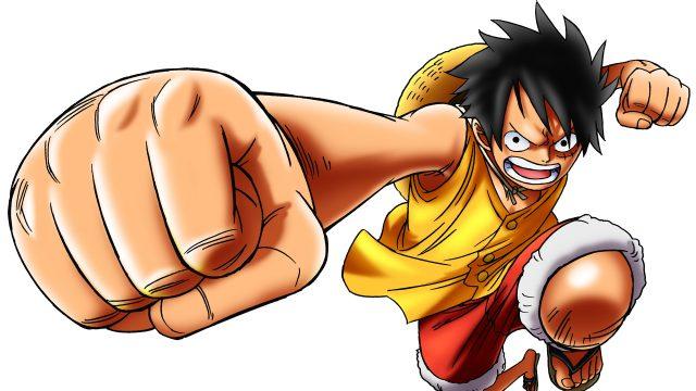 """Monkey D. Ruffy aus der Animeserie """"One Piece"""" mit ausgestrecker Faust."""