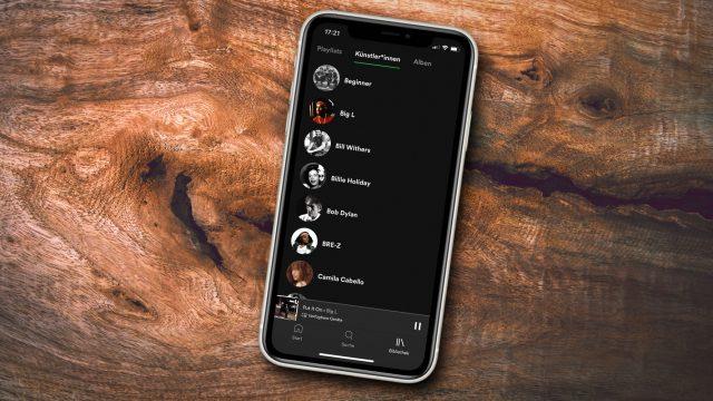 Die Spotify-Bibliothek auf dem iPhone