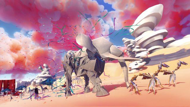 """Ein Screenshot aus dem Sandbox-Spiel """"Paper Beast"""", zu sehen ist ein Papier-Elefant, der durch eine Wüste mit roten Wolken läuft."""