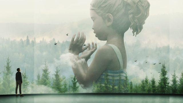 """Ausschnitt aus der Serie """"Devs"""", zu sehen ist ein Mann, der auf eine riesige Wand mit Waldlandschaft und einem überdimensional großen Mädchen blickt.."""