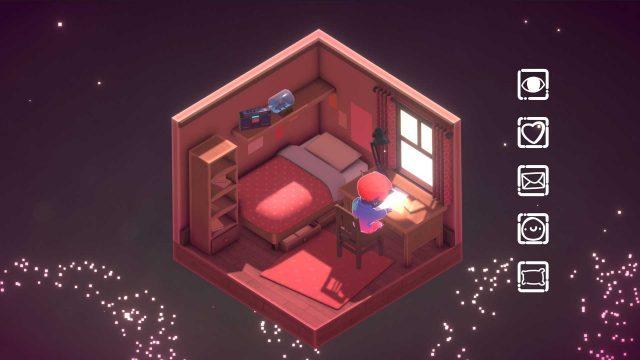 Videospiel Kind Words: Junge sitzt im Zimmer und schreibt Briefe.