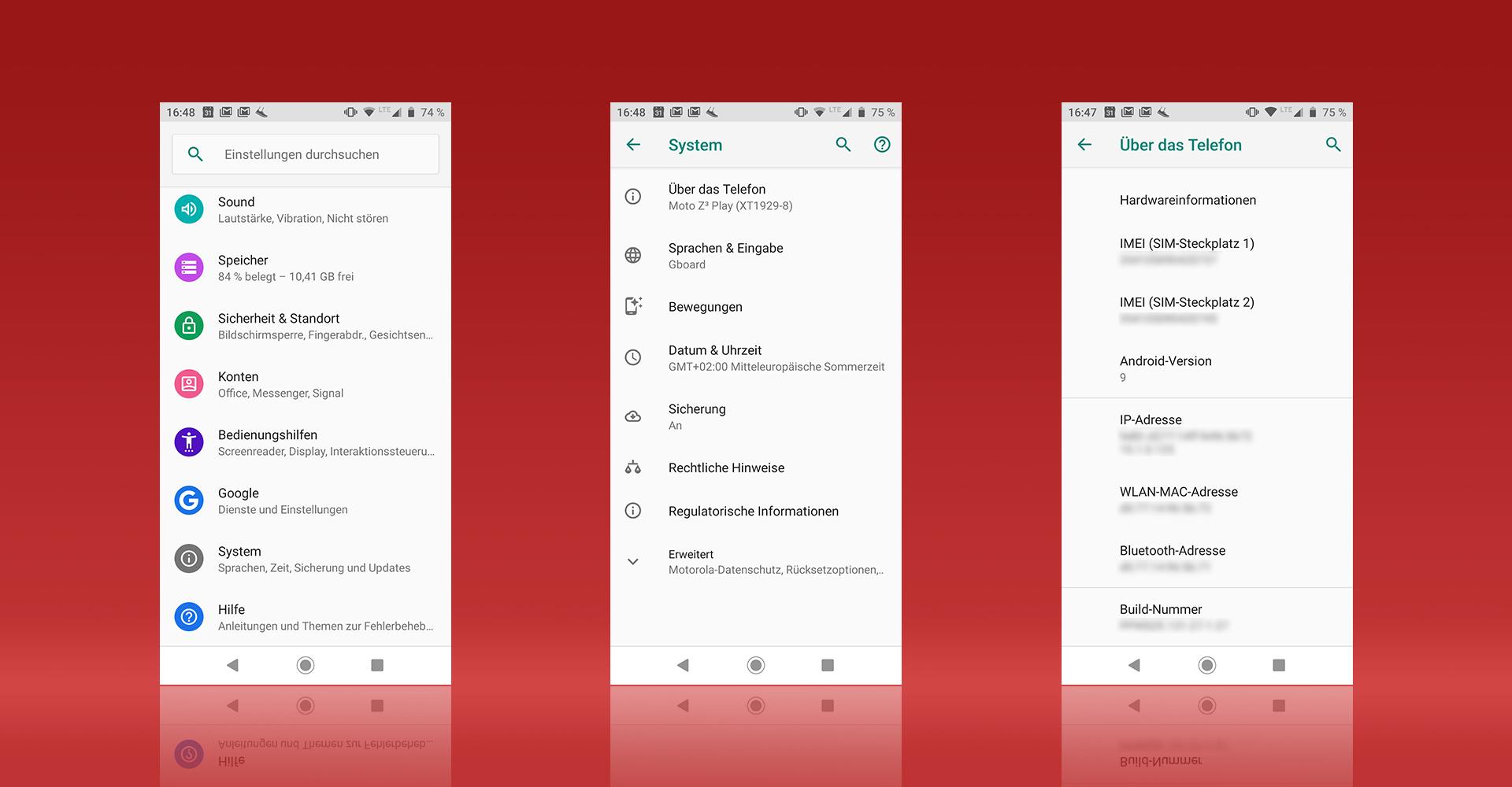 """Screenshots aus den Android-Einstellungen zeigen den Weg zum Eintrag """"Build-Nummer"""""""