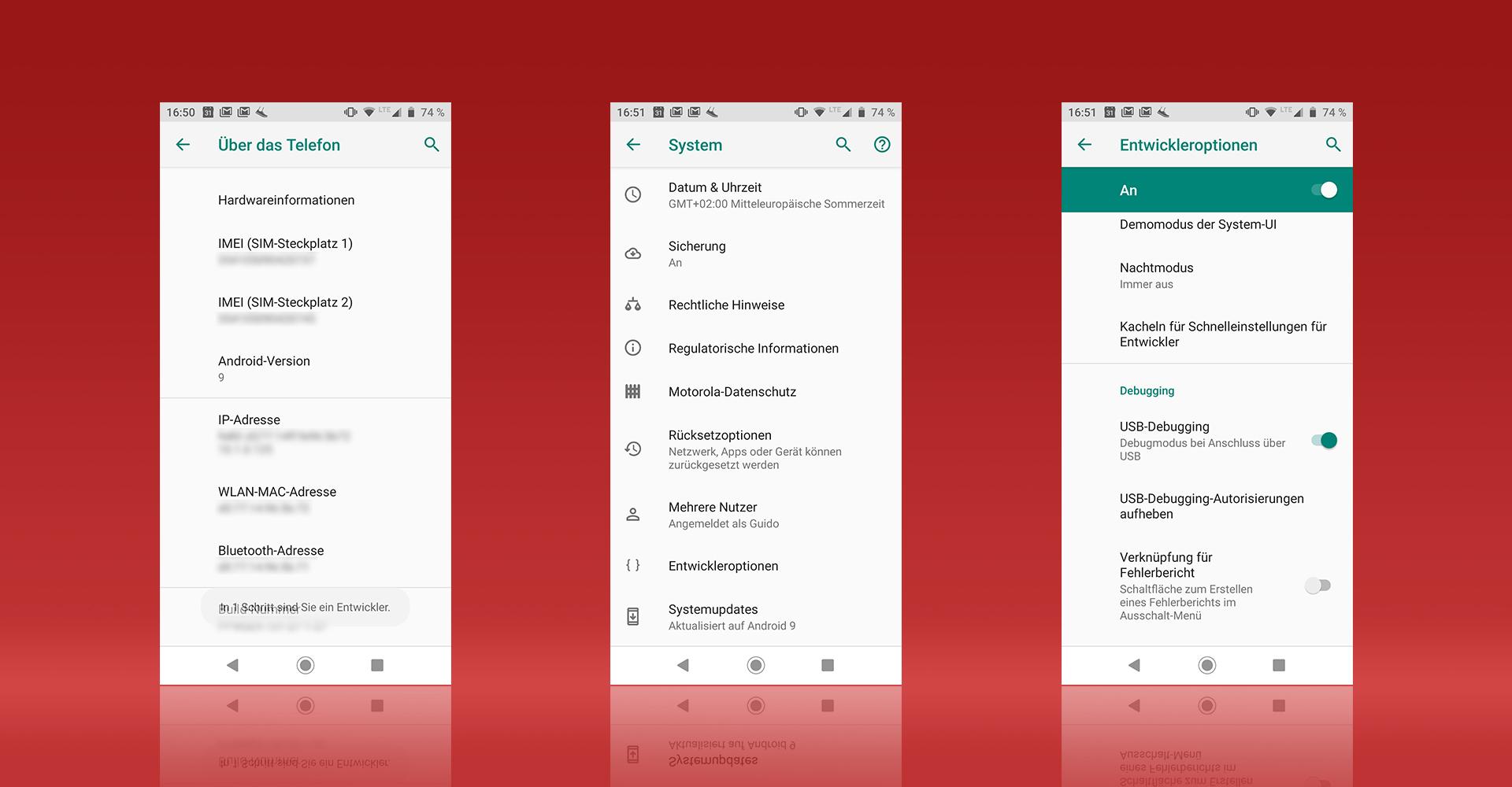 Screenshots aus Android zeigen, wie Du in den Entwickleroptionen die USB-Debugging-Funktion findest