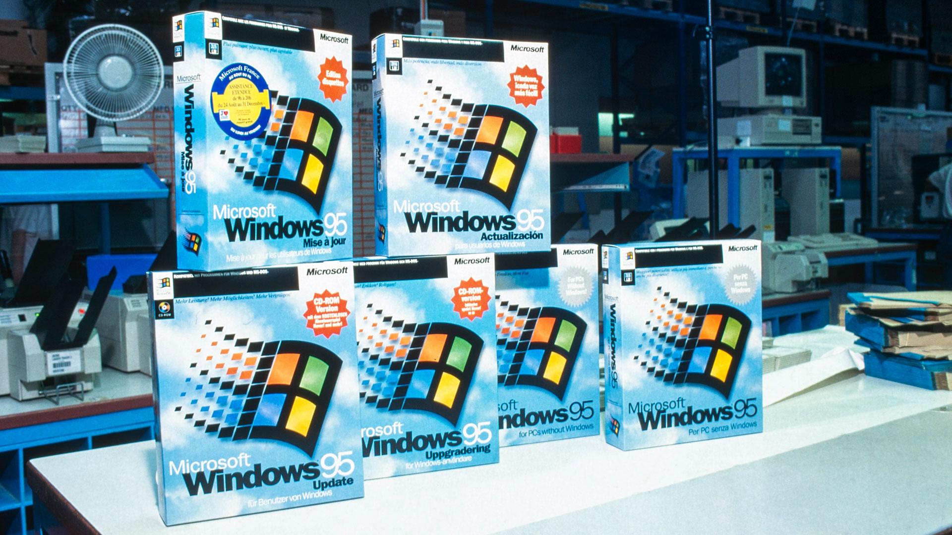 Das Betriebssystem Windows 95 bei seinem Launch 1995