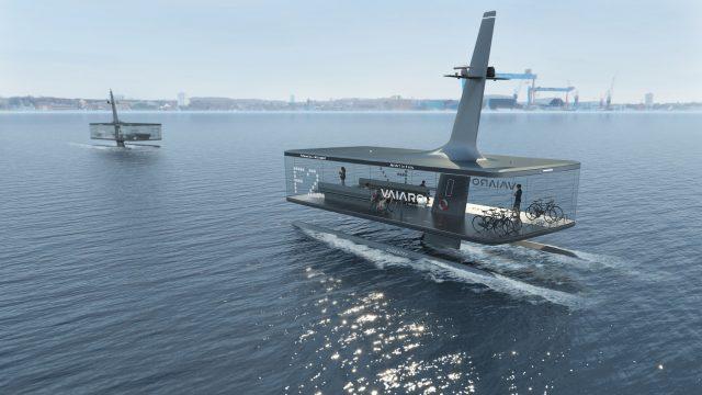 Eine digitale Simulation zeigt eine autonom fahrende Fähre, die an der Kieler Innenförde im Wasser schwimmt.