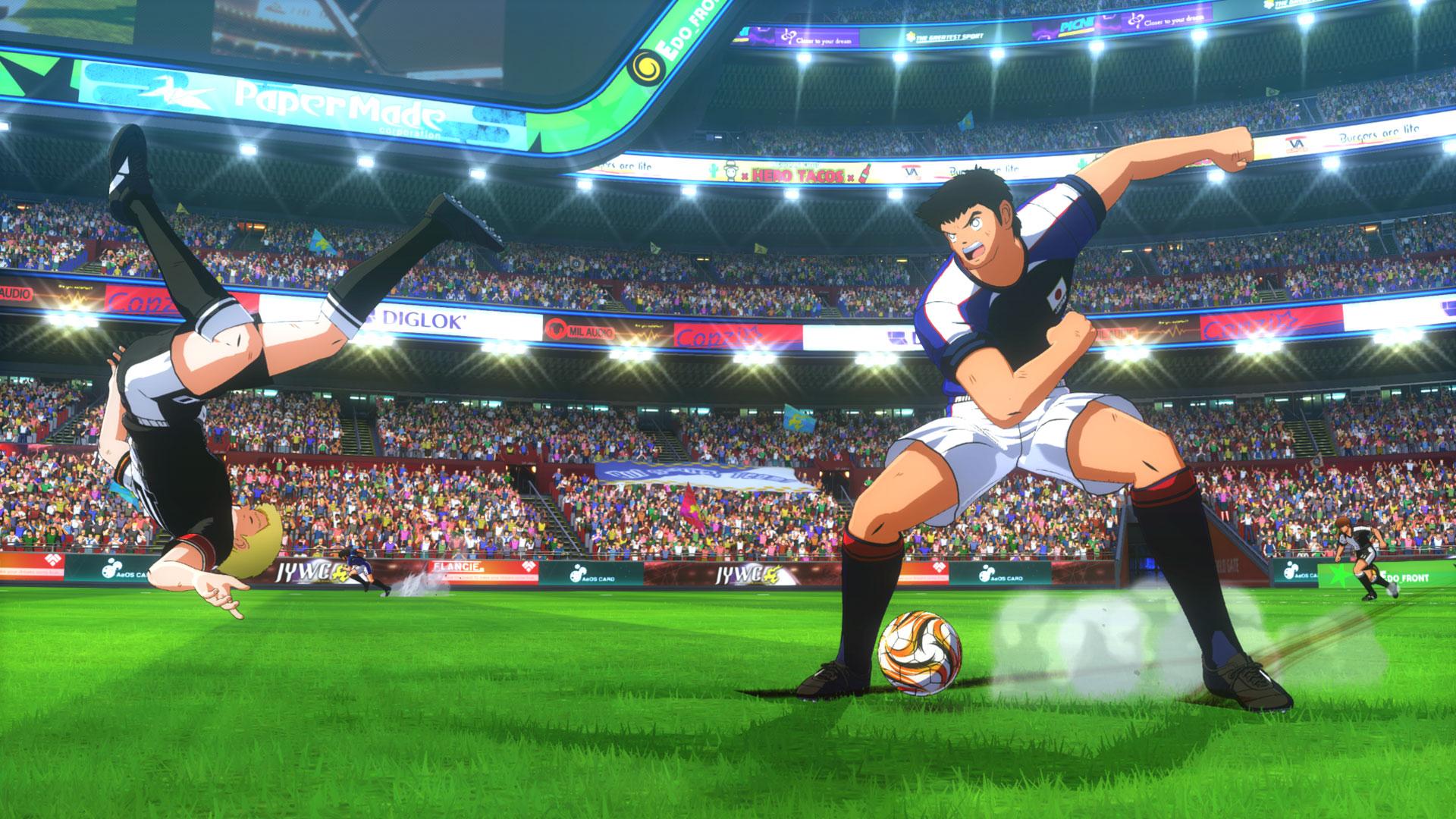 Zwei Spieler stehen sich auf dem Feld gegenüber. Eine Szene aus dem Spiel Captain Tsubasa Rise of New Champions