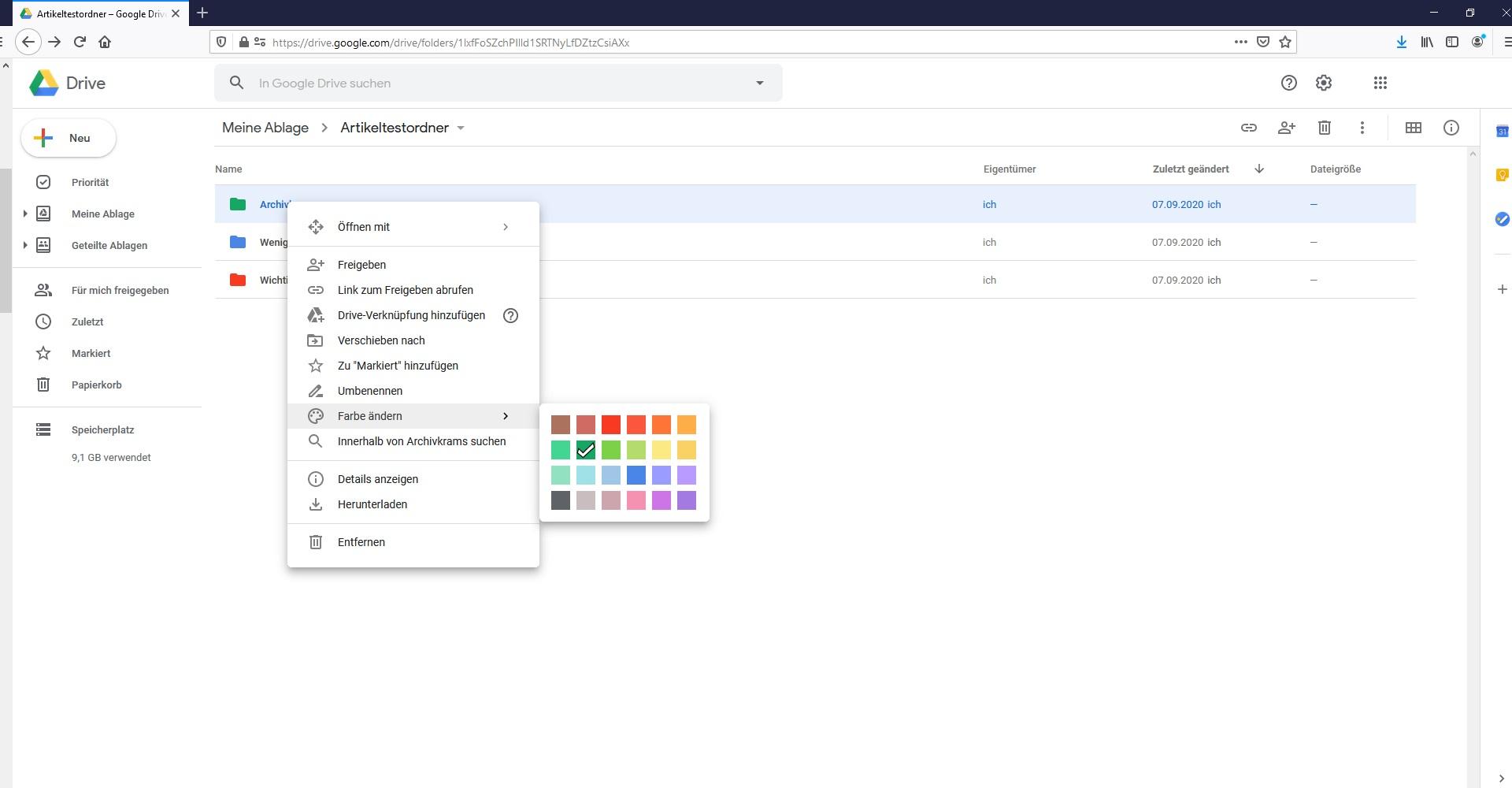 Google Drive Tipps Ordner Farbe