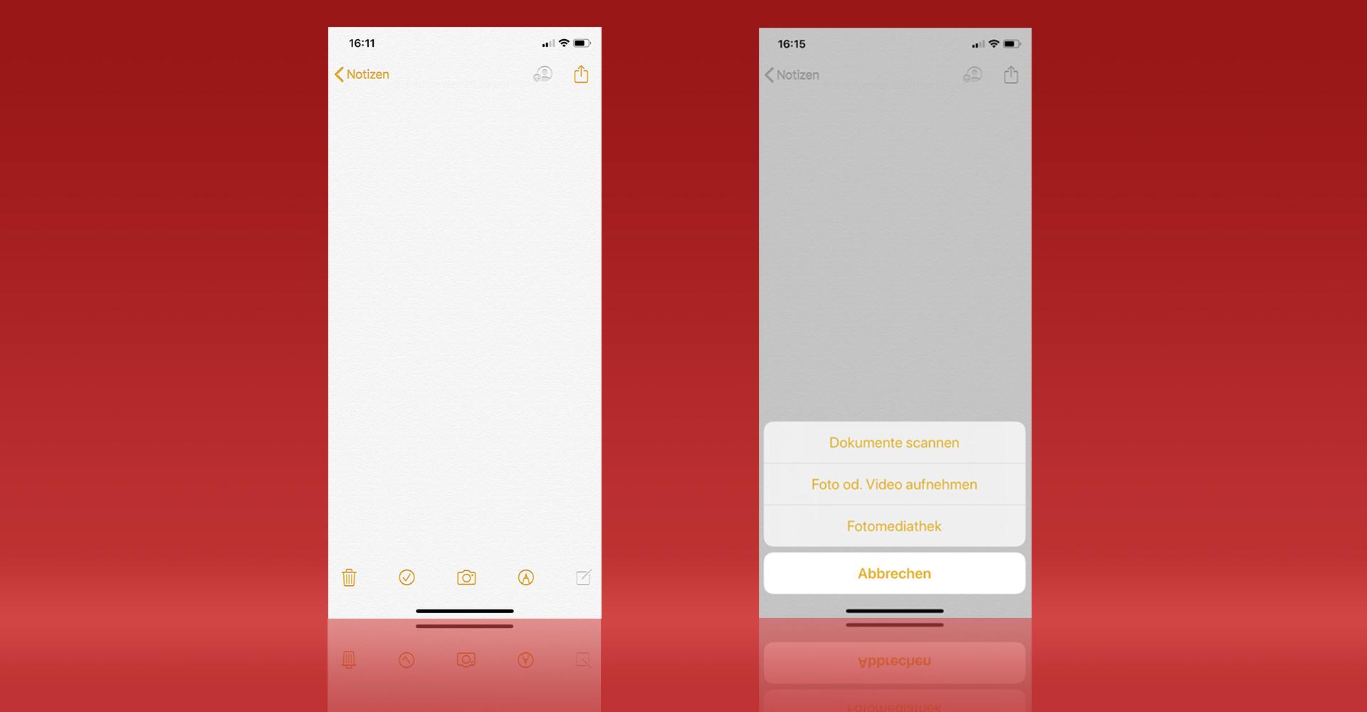 Die iPhone-Notizen-App lässt Dich scannen