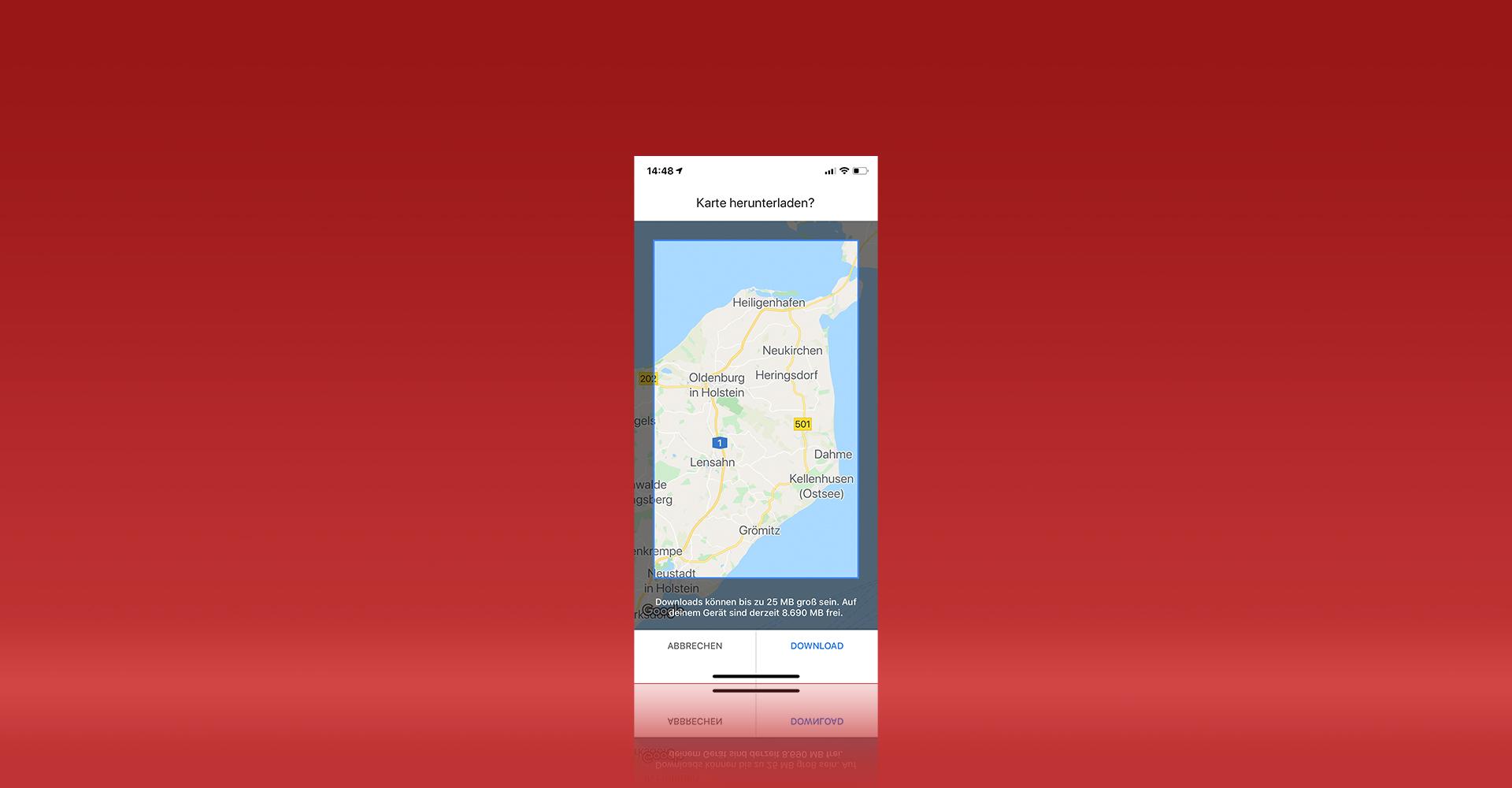 Offlinekarten in Google Maps