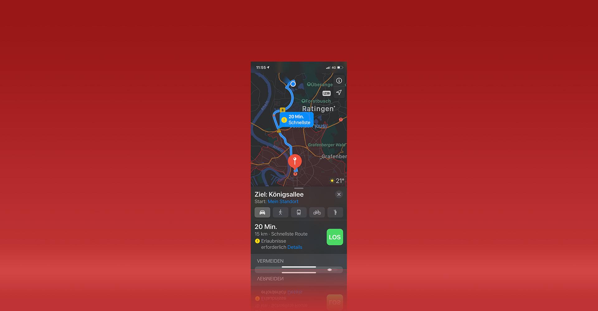 Routenführung und Stauumfahrung in Apple Karten