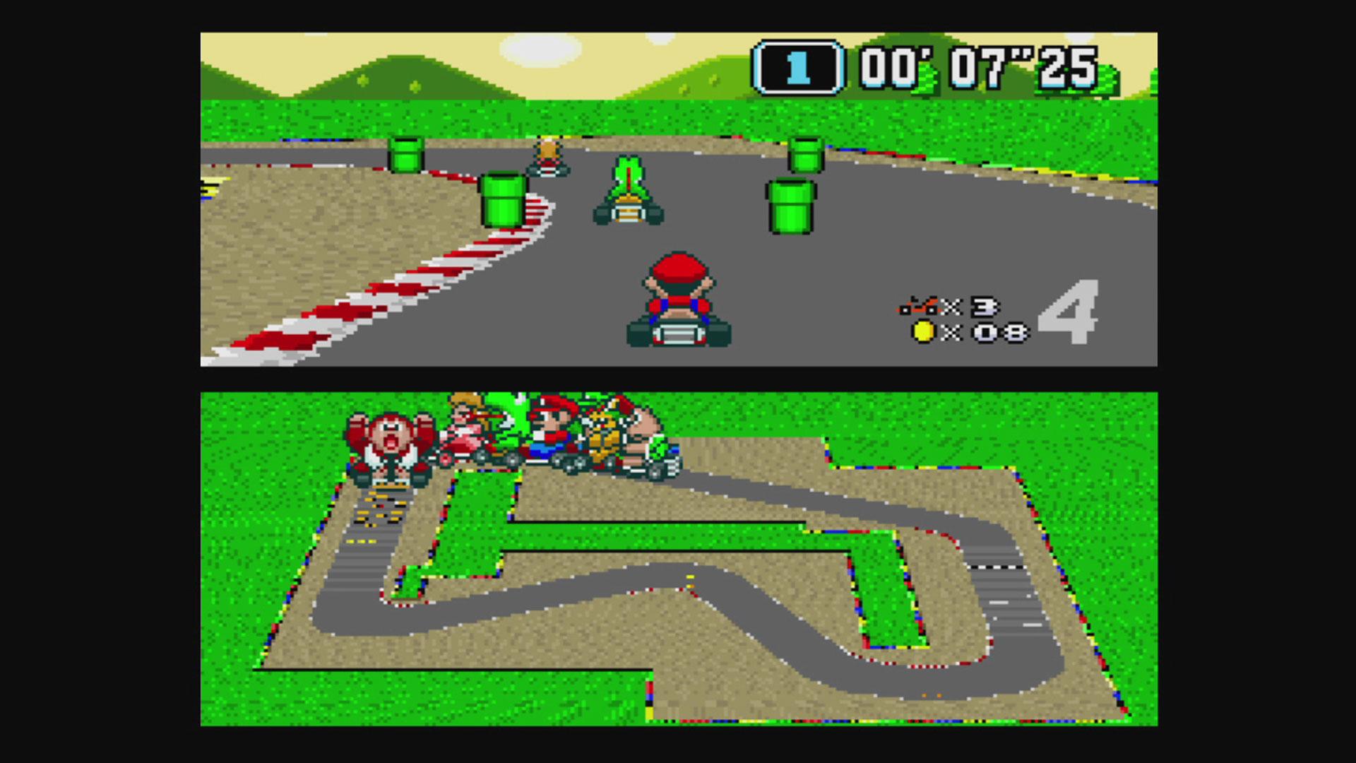 """Screenshot aus dem Spiel """"Super Mario Kart"""""""