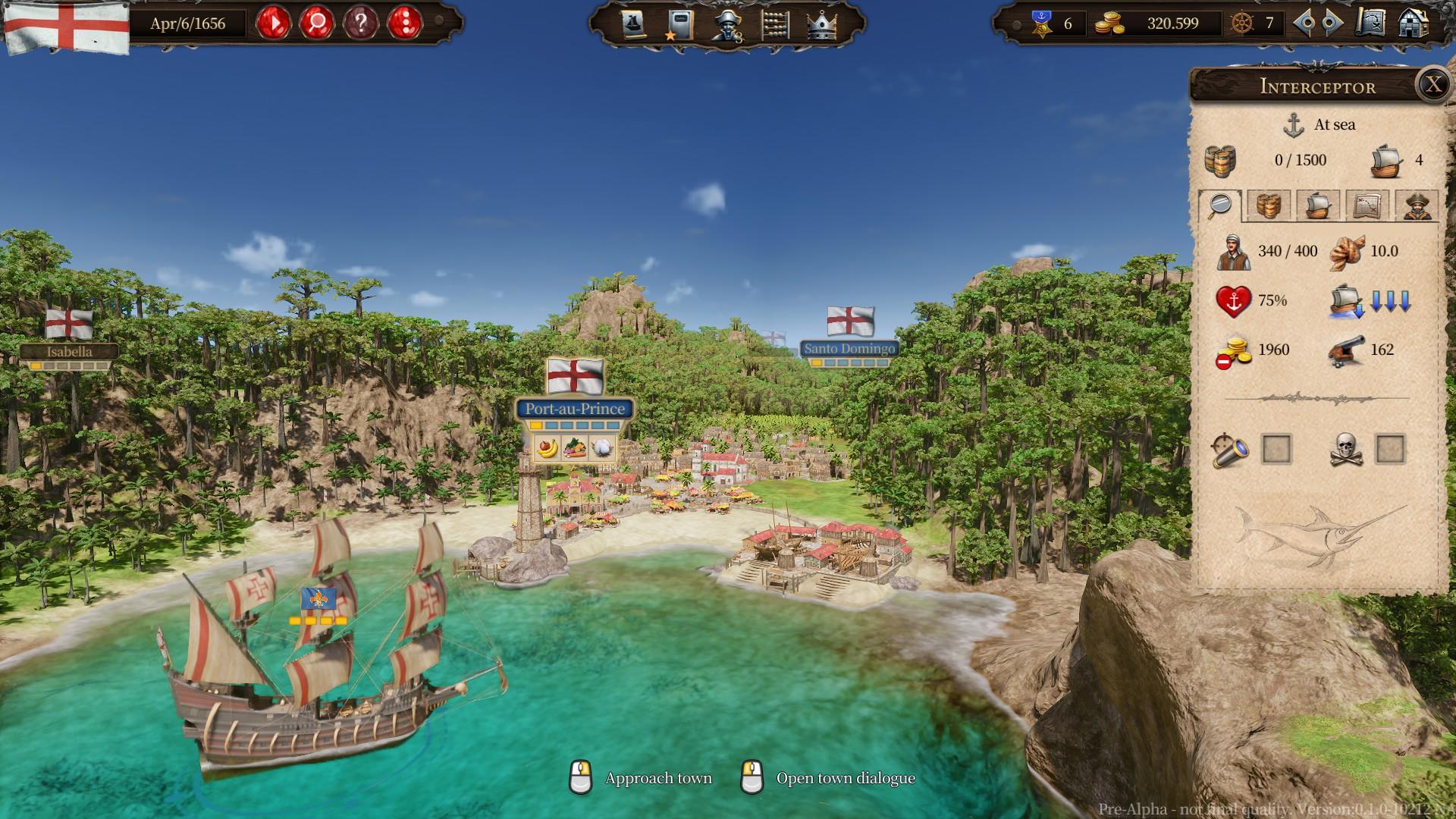"""Game-Screenshot aus der Handelssimulation """"Port Royale 4"""" vor einem karibischen Hafen, rechts ist das Spielmenü zu sehen."""