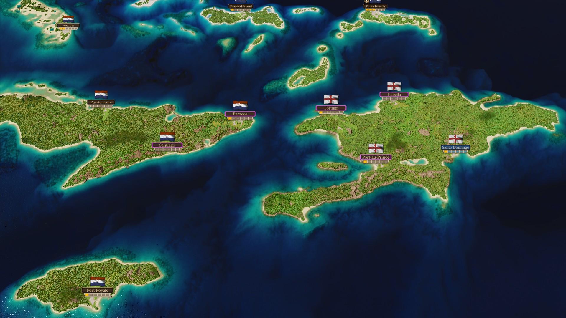 """Game-Screenshot aus der Handelssimulation """"Port Royale 4"""": Zu sehen sind die Spielnationen auf einer Handelskarte."""