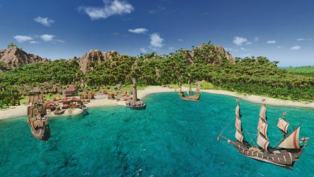 """Game-Screenshot aus der Handelssimulation """"Port Royale 4"""". Mehrere Schiffe legen vor einem Hafen in der karibischen See an."""