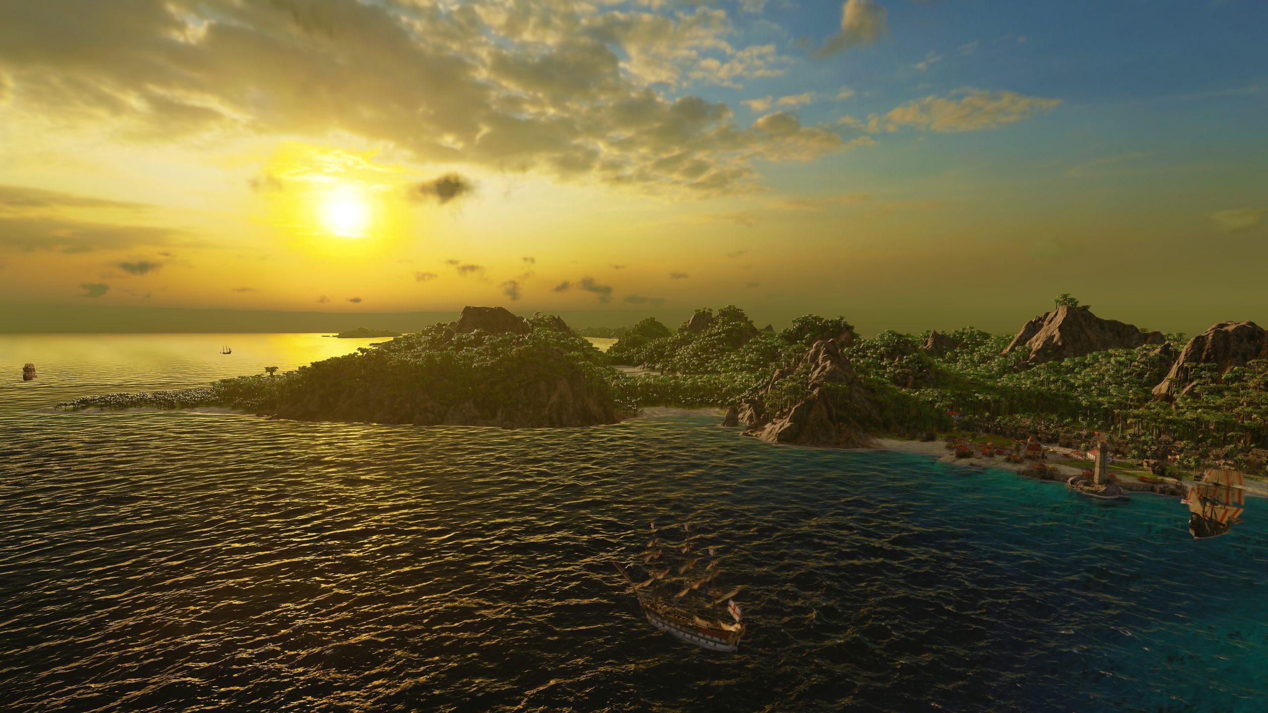 """Die Karibik bei Sonnenuntergang im Spiel """"Port Royale 4"""""""
