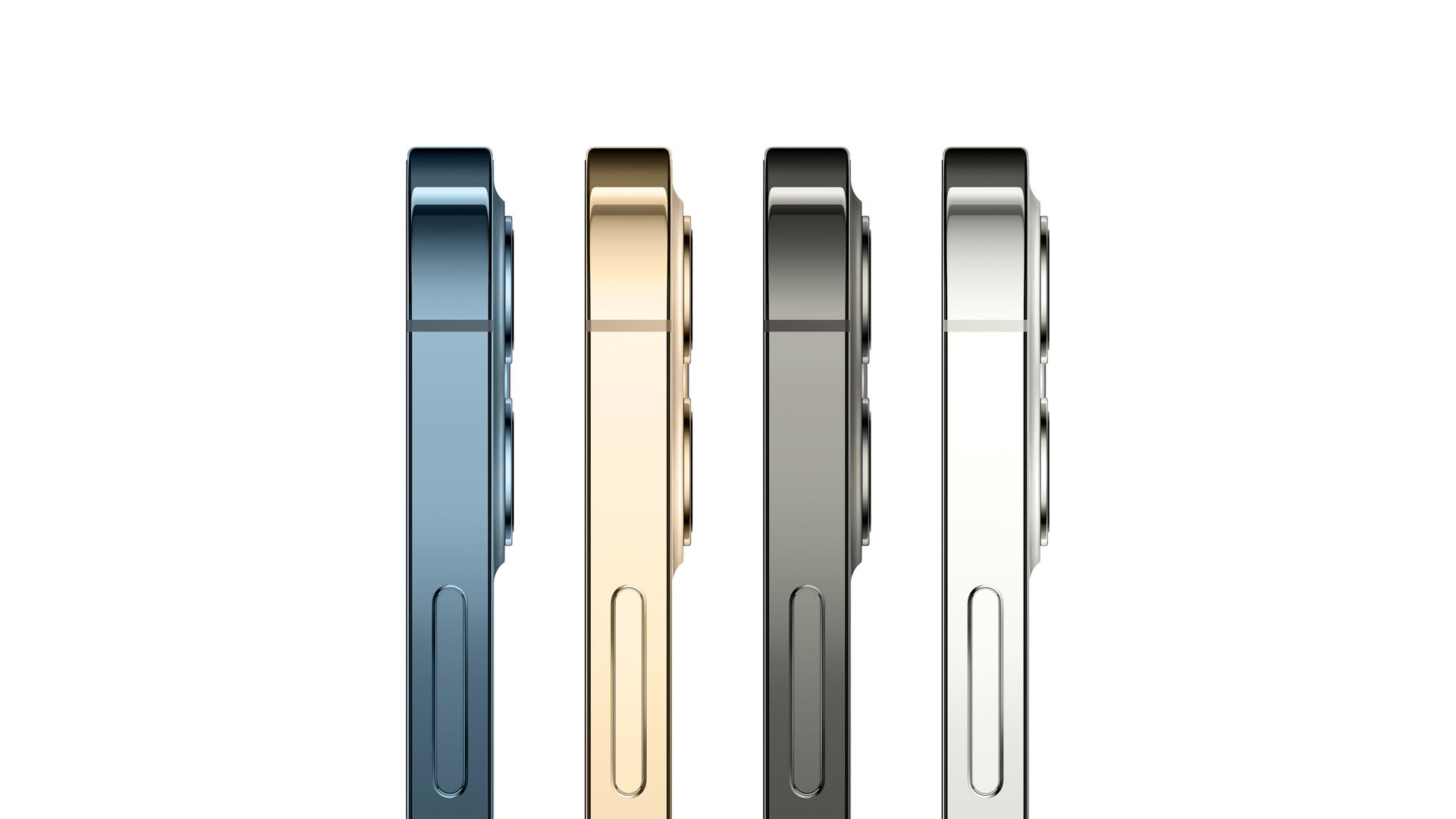 Das iPhone 12 Pro und iPhone 12 Pro Max in vier Farben seitlich gezeigt.