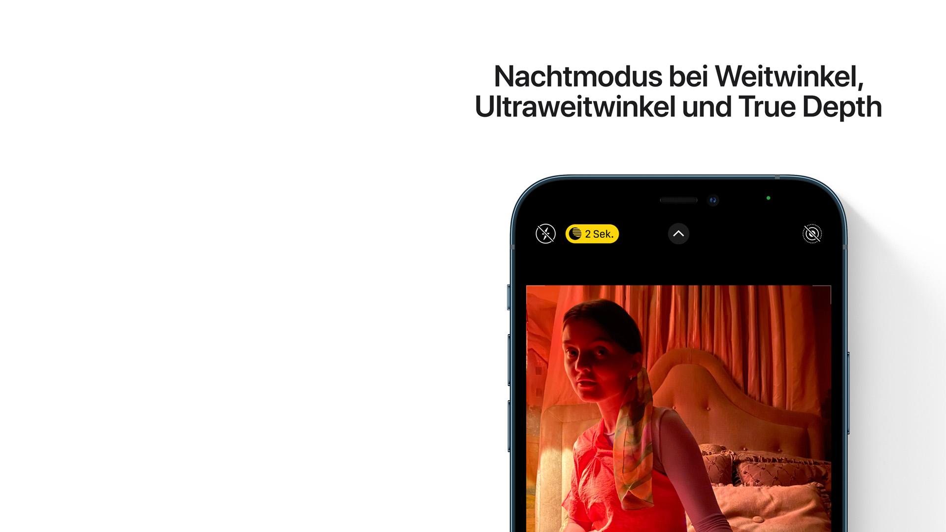 Der Nachtmodus bei Weitwinkel, Ultraweitwinkel und True Depth des neuen iPhone 12.