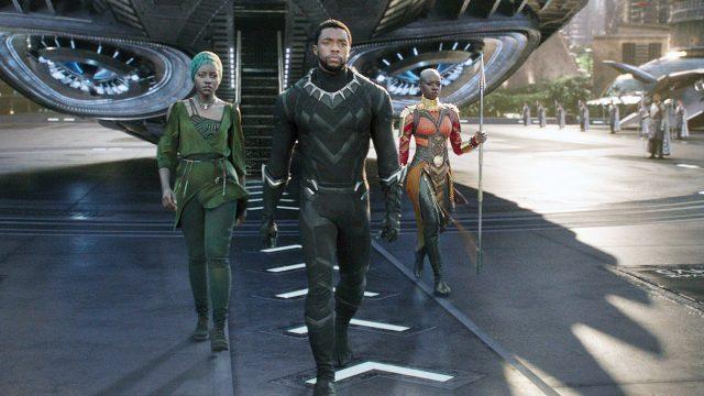 """Lupita Nyong'o, Chadwick Boseman und Danai Gurira in """"Black Panther"""""""