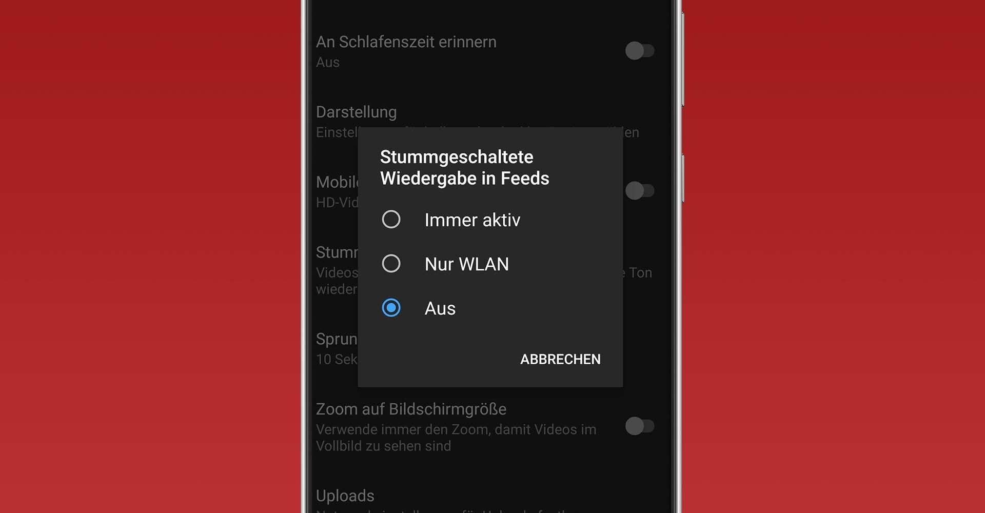 """Die YouTube-Funktion """"Stummgeschaltete Wiedergabe in Feeds""""."""