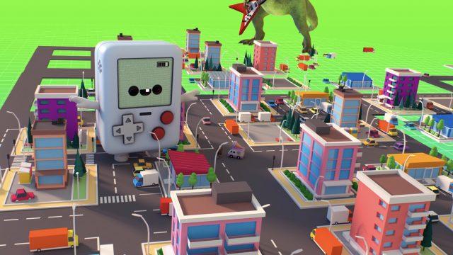"""Eine 3D-Stadt, durch die sich Fantasiewesen und Objekte bewegen, wurde mit der Software """"Anything World"""" designt."""