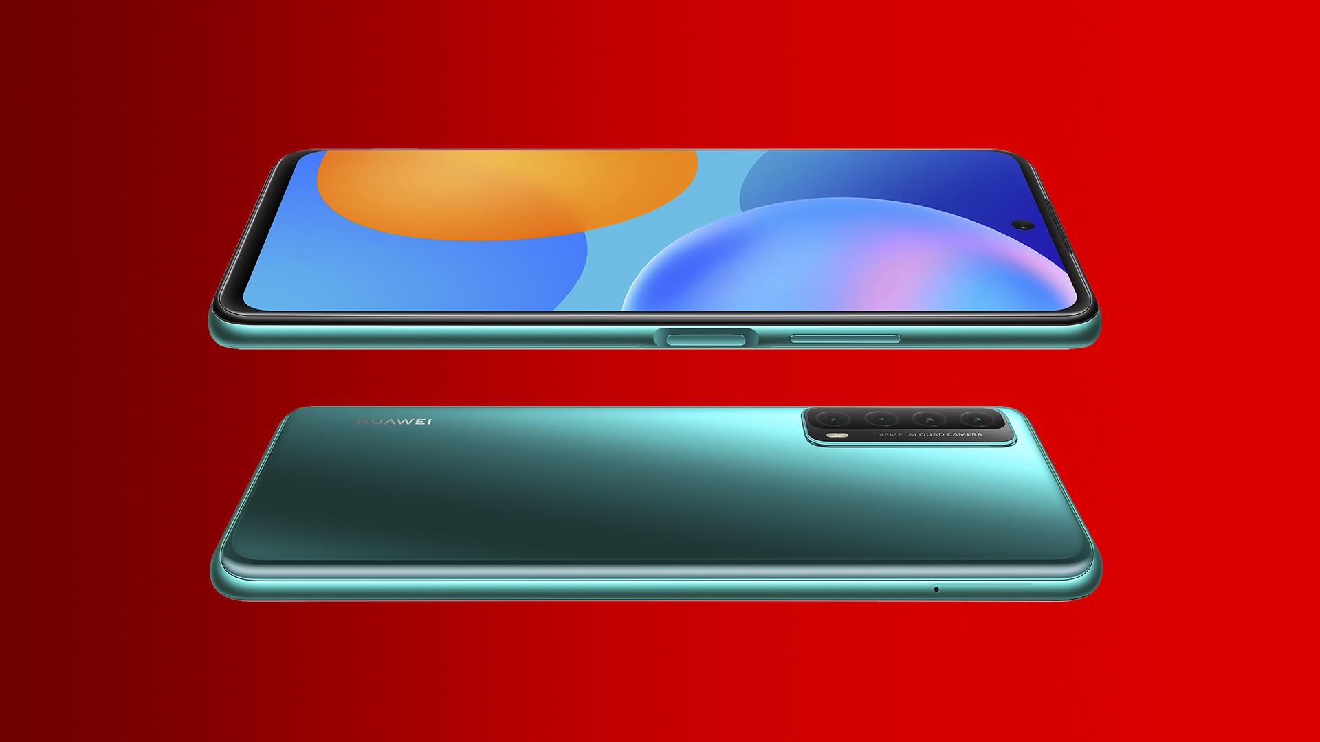 Das neue Huawei P smart 2021 in Grün seitlich.