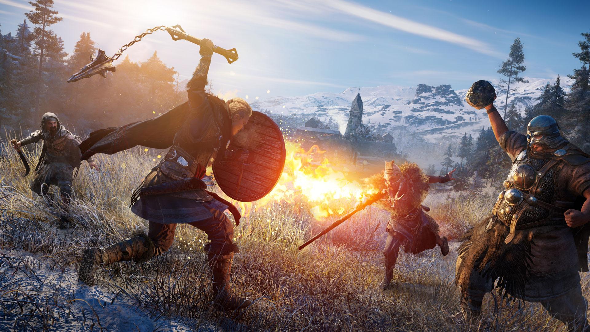"""Eivor Wolfsmal kämpft gegen feindliche Truppen. Ein Screenshot aus dem Spiel """"Assassins Creed Valhalla"""""""