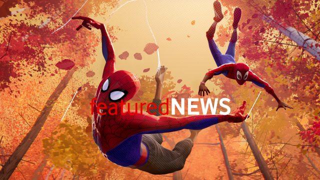 """Artwork aus """"Spider-Man: A New Universe"""": Peter Parker und Miles Morales schwebe als Spider-Man durch einen herbstlichen Wald."""