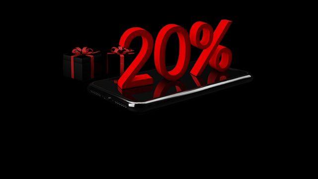 """Black Week 2020 bei Vodafone: Auf einem Smartphone ist in roter Schrift """"20%"""" zu lesen, daneben Geschenke."""