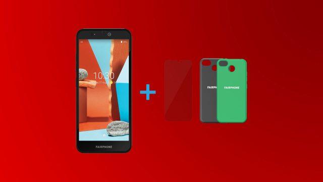 Das nachhaltige Fairphone 3 plus einer Displayschutzfolie und einer Schutzhülle in Schwarz oder Grün.