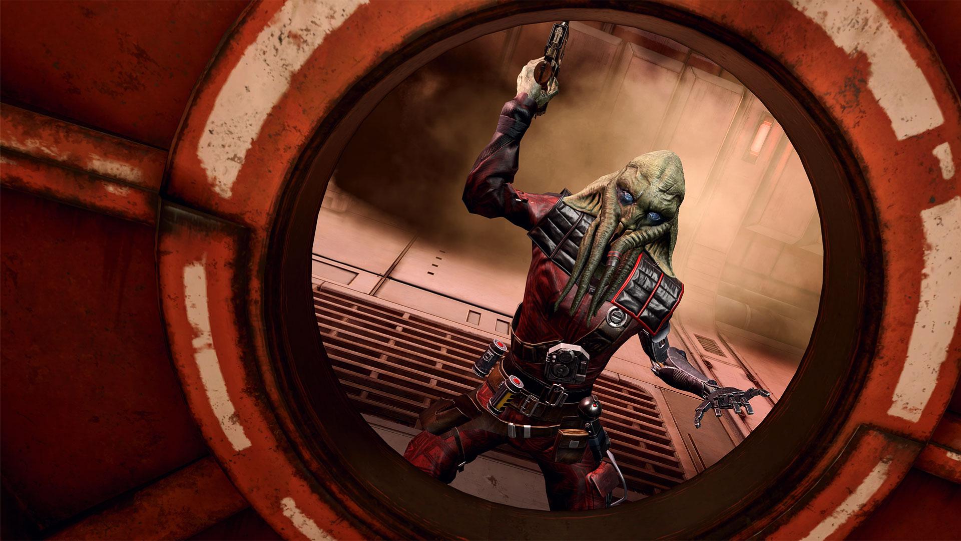Ein Weltraumpirat greift Dich im Spiel Tales from the Galaxy's Edge an.