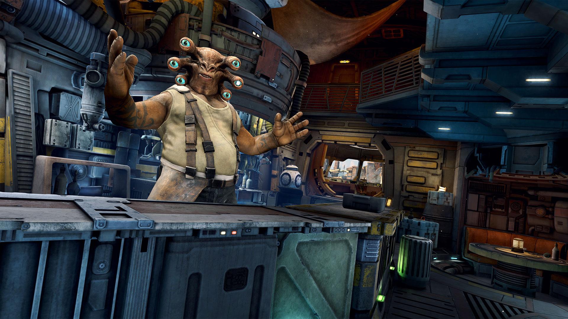 In einer Bar begrüßt Dich der sechsäugige Außerirdische Seezelslak