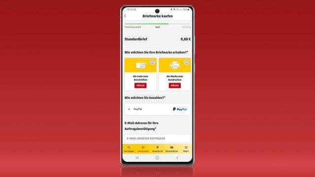 """Screenshot vom Briefmarken-Kauf in der """"Post & DHL""""-App"""