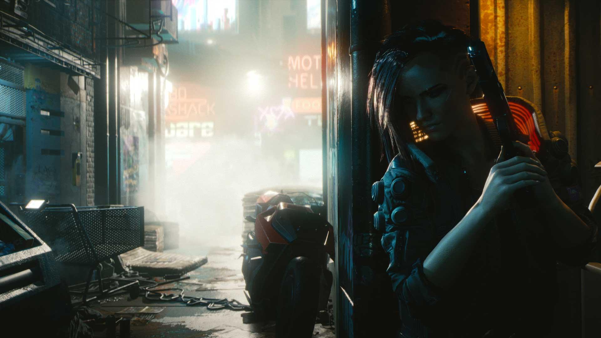 Frau hinter einer Gasse in Cyberpunk 2077