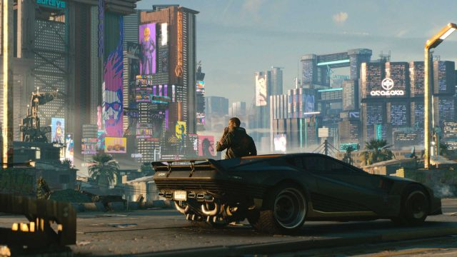 Skyline von Night City in Cyberpunk 2077