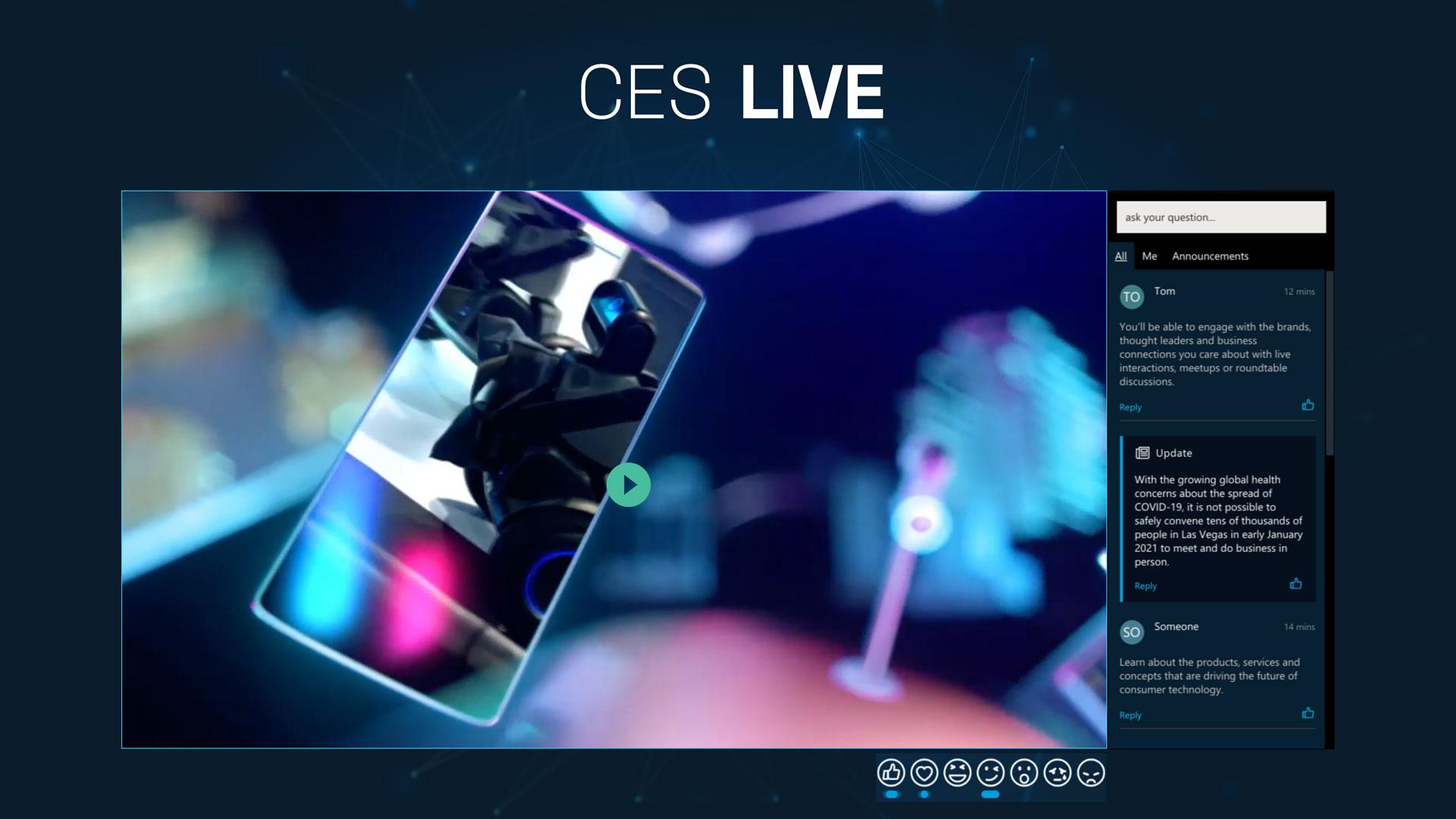 Die Nutzeroberfläche der CES 2021, die ein Live-Video zeigt.