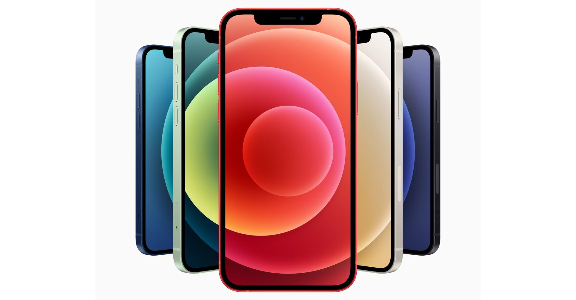 Fünf Einheiten des iPhone 12 von vorne
