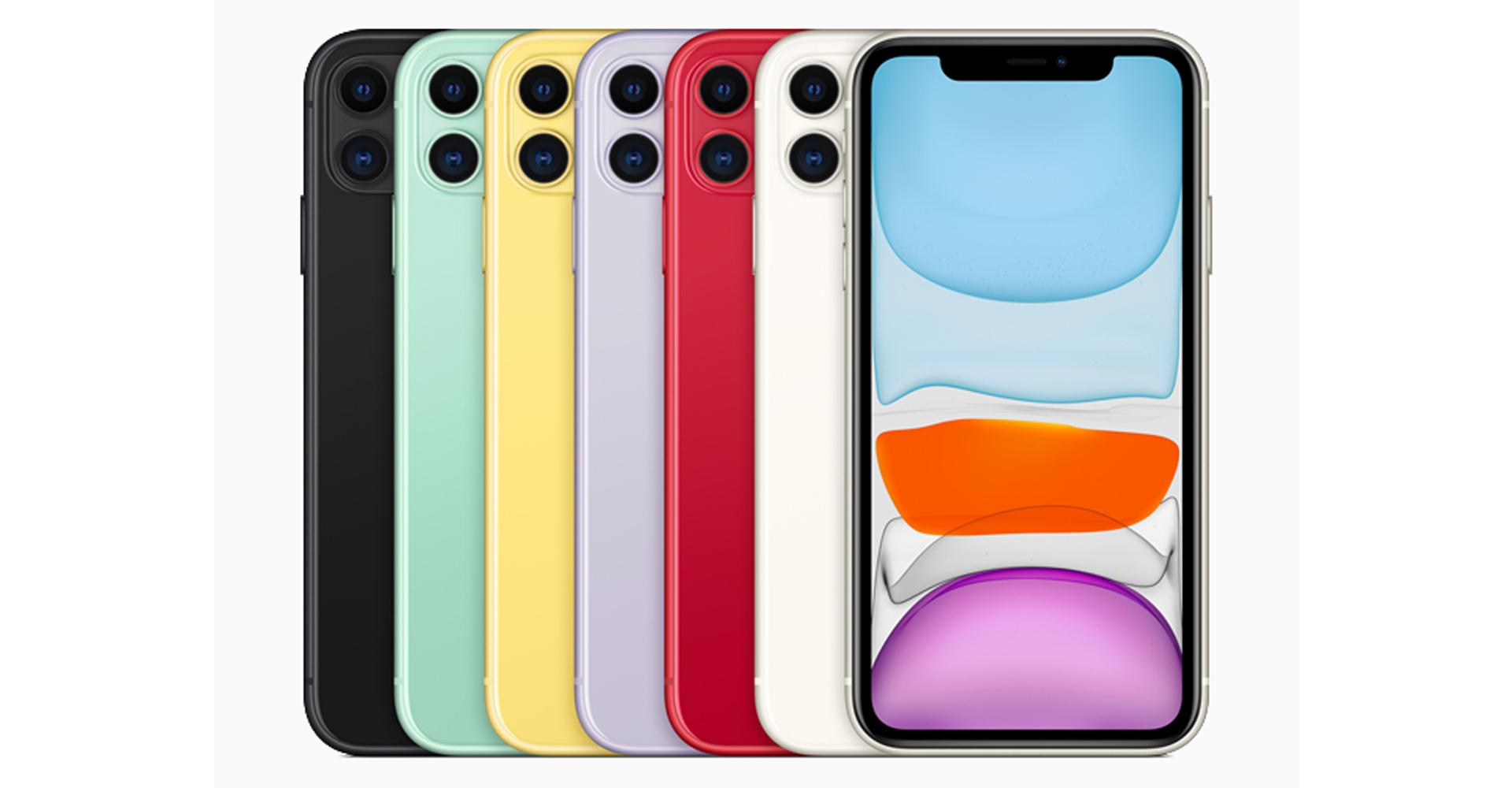 iPhone 11 von vorne und hinten in allen Farbvarianten