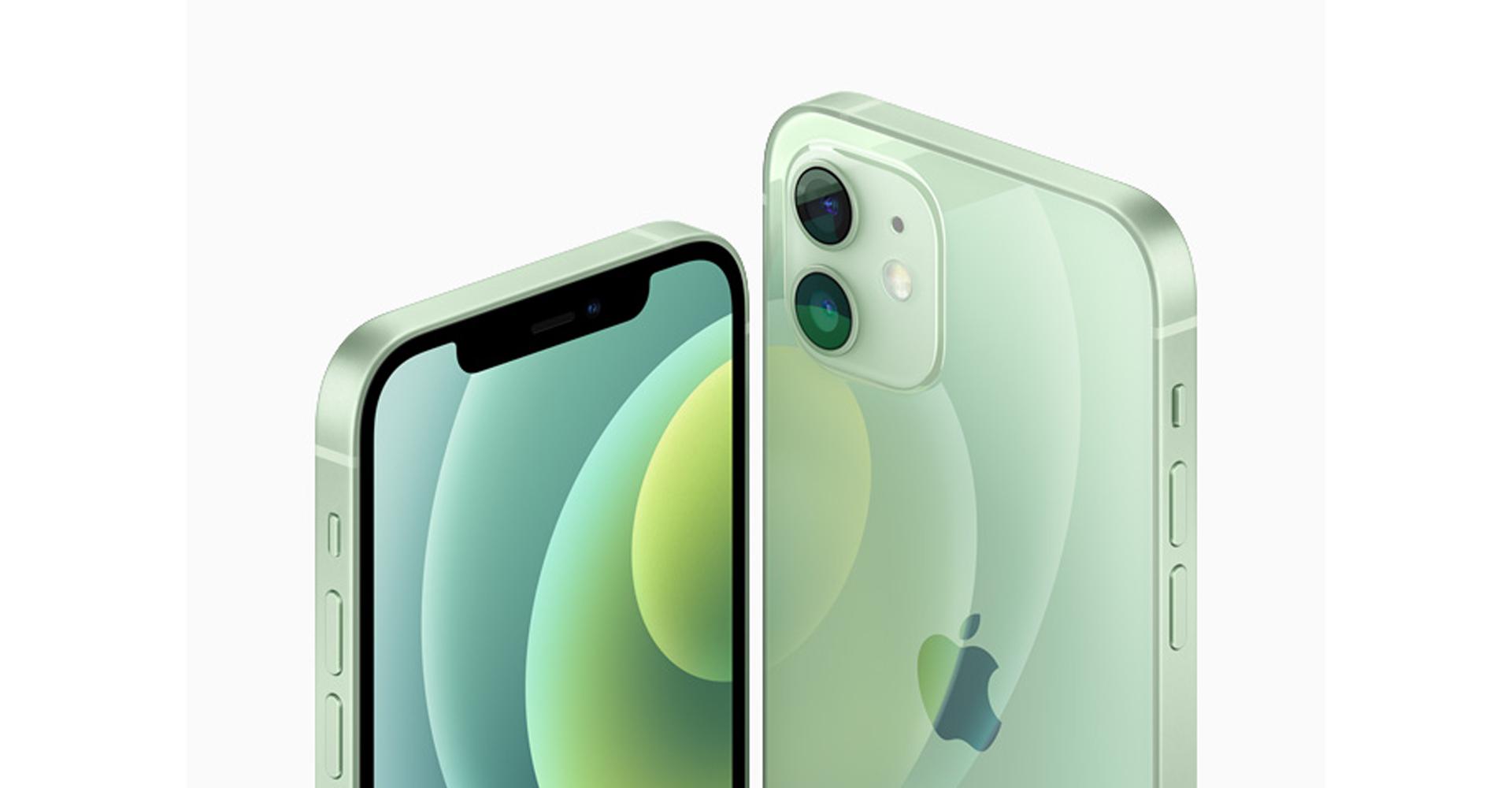 iPhone 12 mini in Grün von vorne und hinten