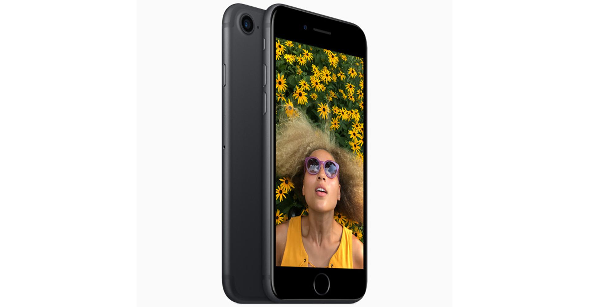 iPhone 7 in Schwarz von vorne und hinten