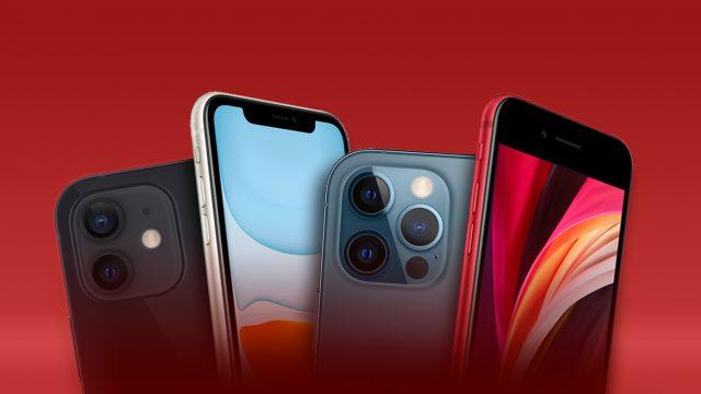 Mehrere iPhone-Modelle vor rotem Hintergrund