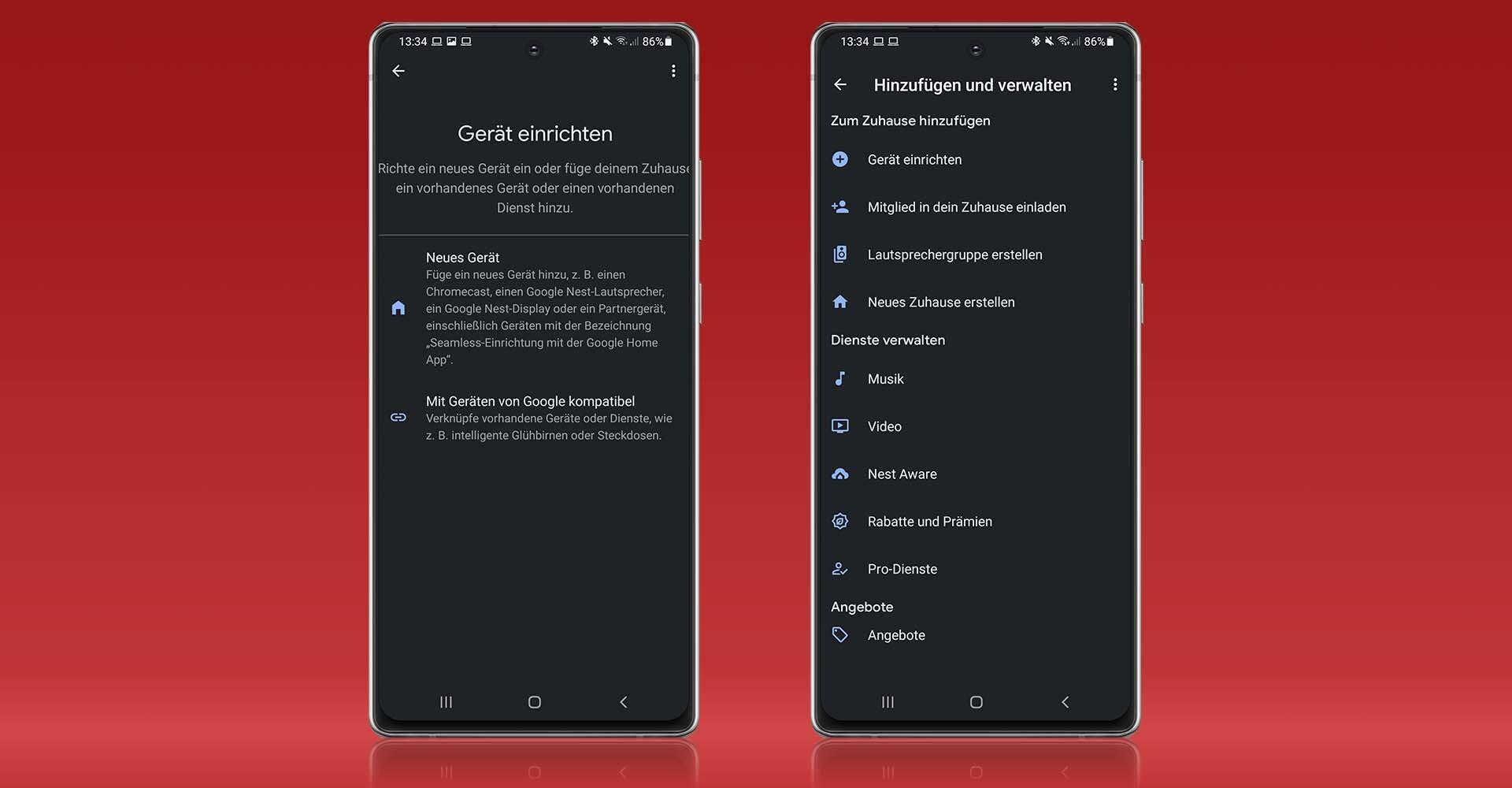 Screenshots der Google-Home-App.