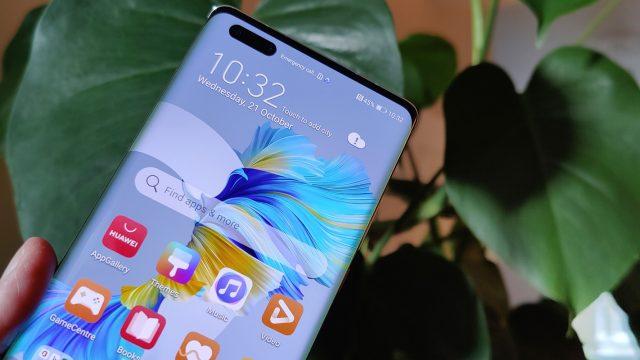 Hand hält das Huawei Mate 40 Pro vor Pflanze
