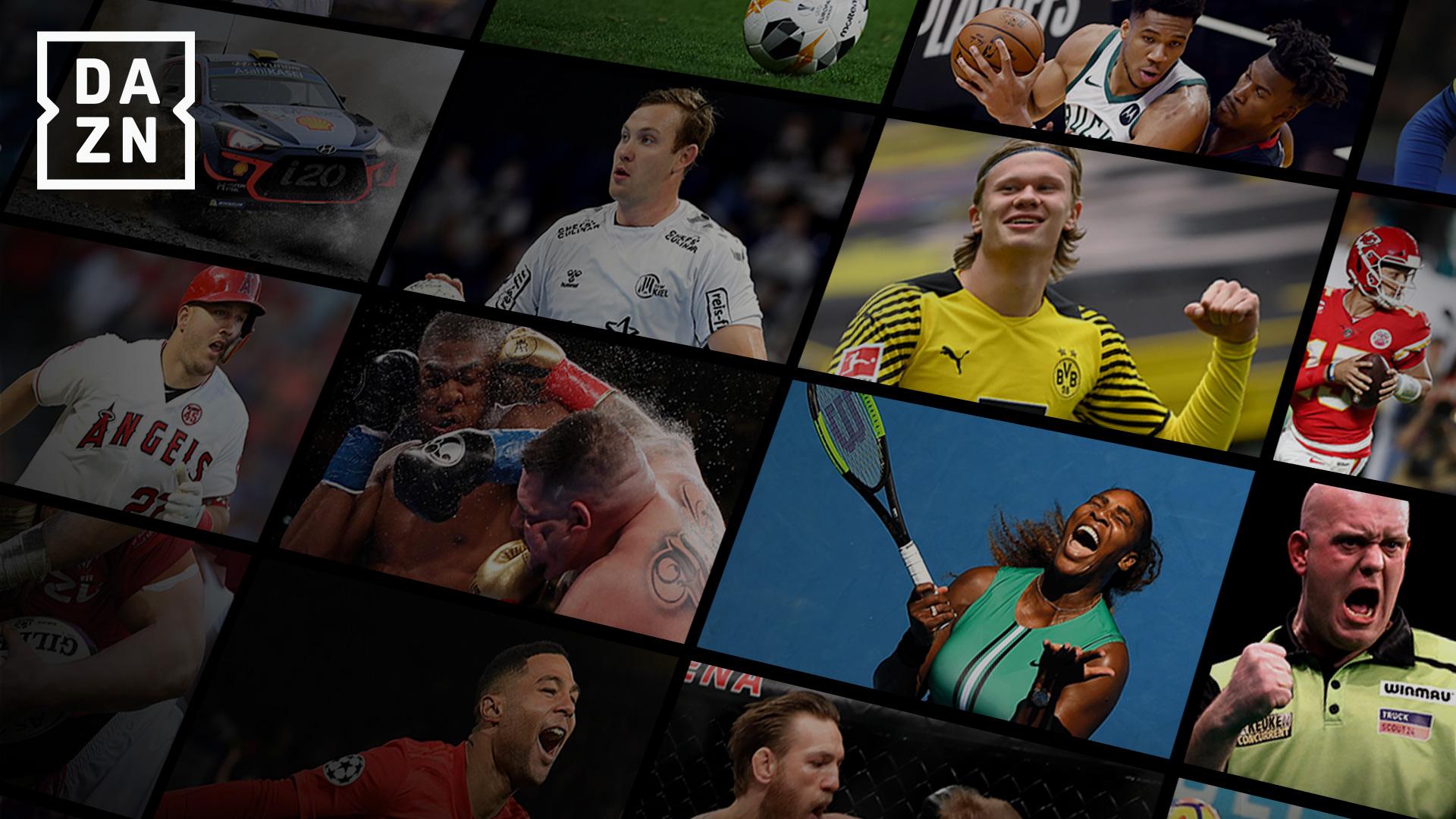 Sportszenen aus dem Programm von DAZN in einer Collage.