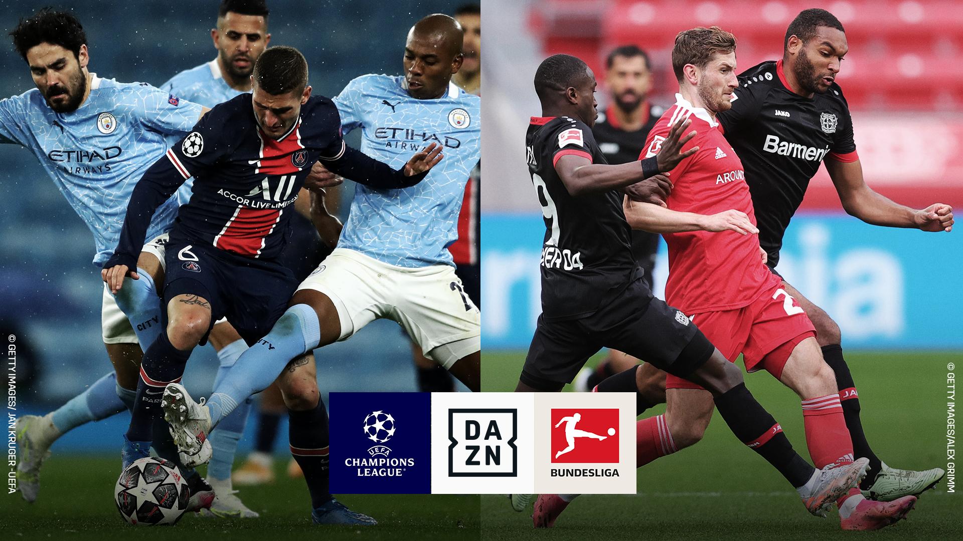 Spielszenen aus zwei Matches der UEFA Champions League.