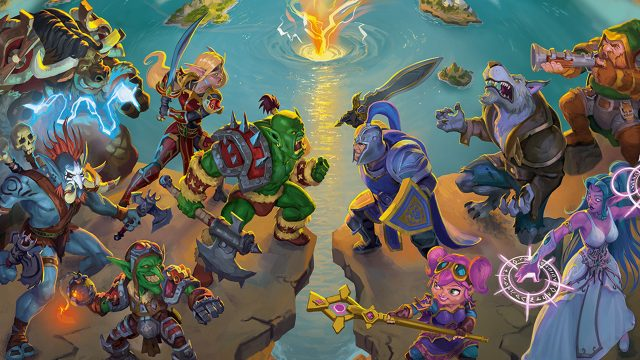 """Verschiedene Völker und Fantasiewesen aus dem Brettspiel """"Small World of Warcraft"""" stehen sich auf einer Klippe gegenüber."""