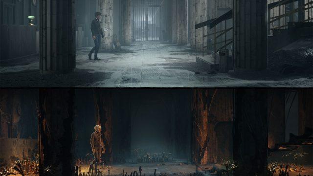 """Screenshot aus dem Xbox-Spiel """"The Medium"""". Die Protagonistin läuft einmal in schwarzer, einmal in weißer Kleidung durch ein Gebäude in der realen bzw. in der spirituellen Welt."""