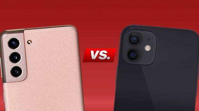 Galaxy S21 und iPhone 12 Rückseite mit Kamera