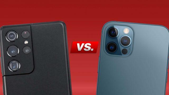 Kameras von Galaxy S21 Ultra und iPhone 12 Pro Max nebeneinander