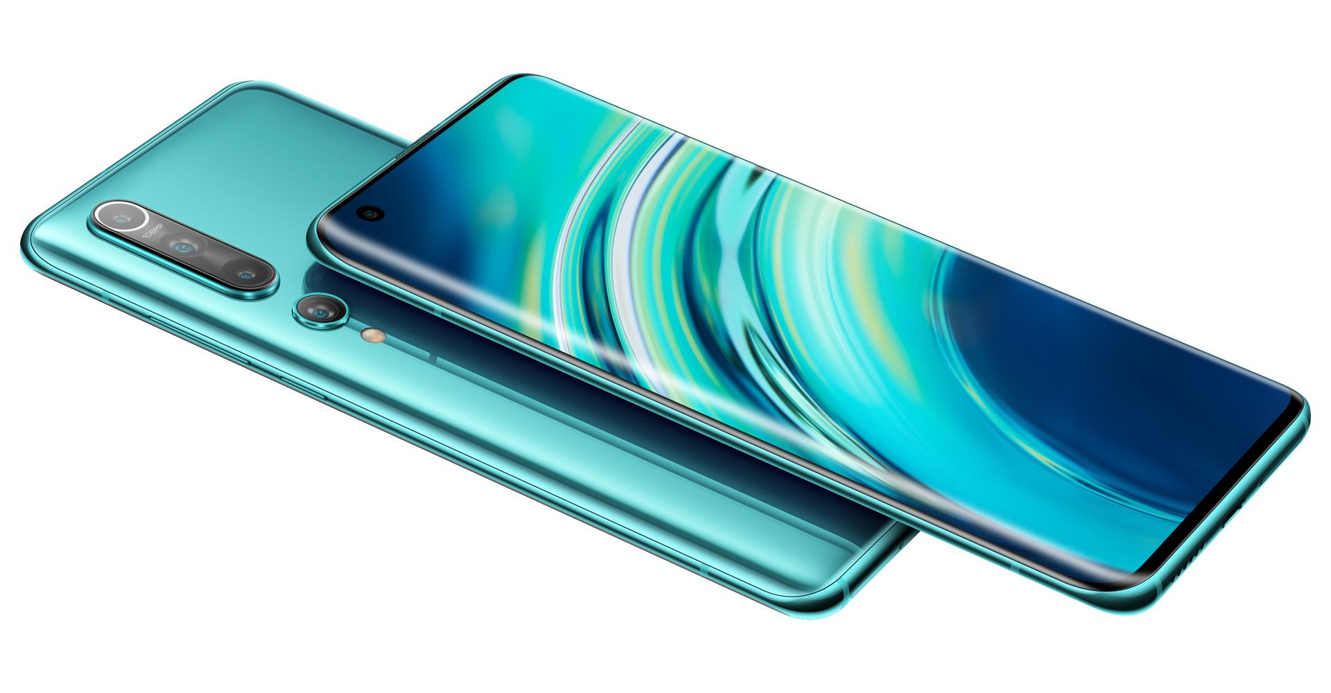 Xiaomi Mi 10 in Grün mit Seitenansicht auf Vorder- und Rückseite